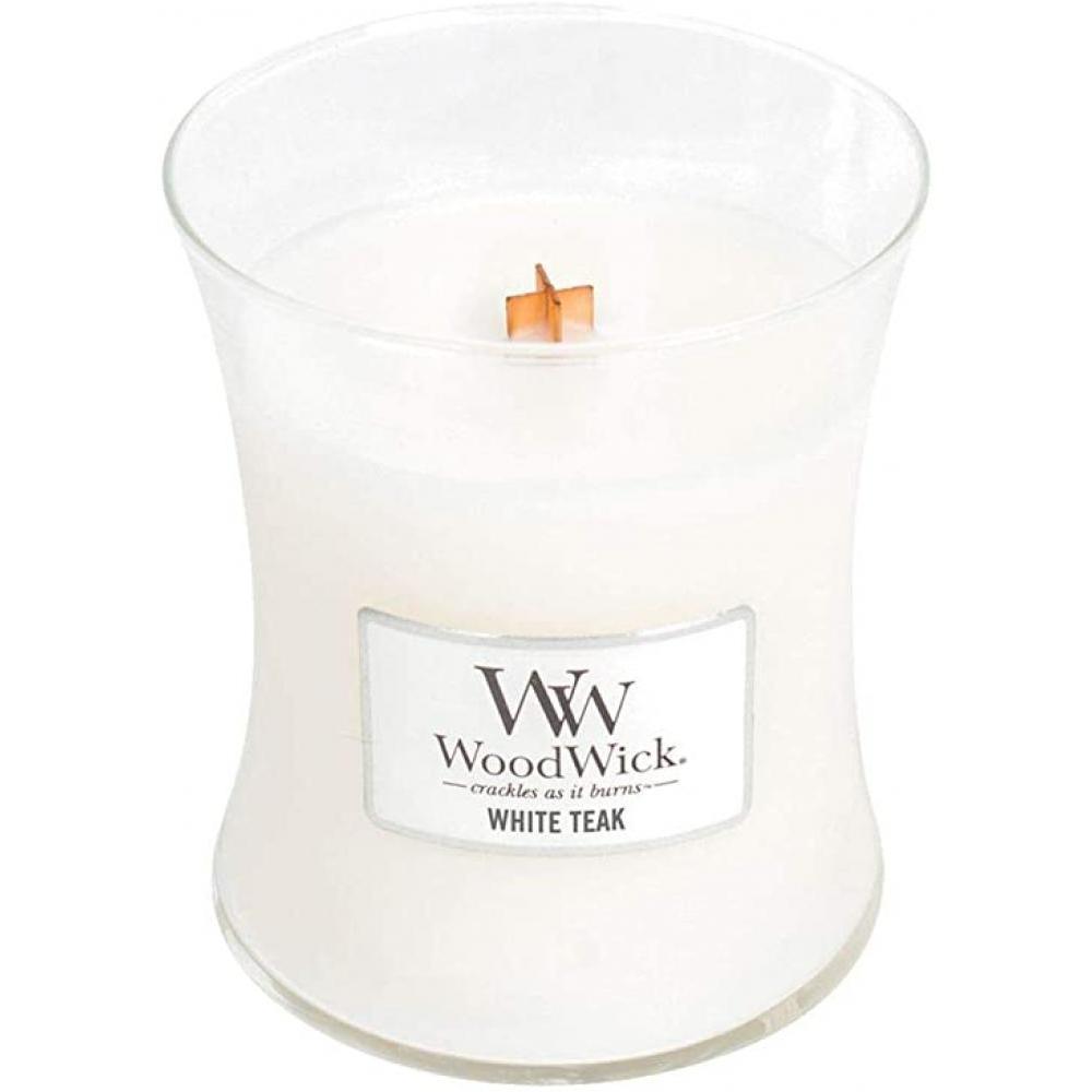 Woodwick Medium Candle Jar White Teak 10oz 60 Hour Burn Time