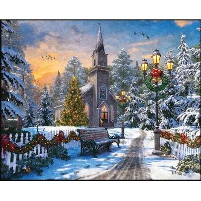 1000 Piece Puzzle Holiday Church