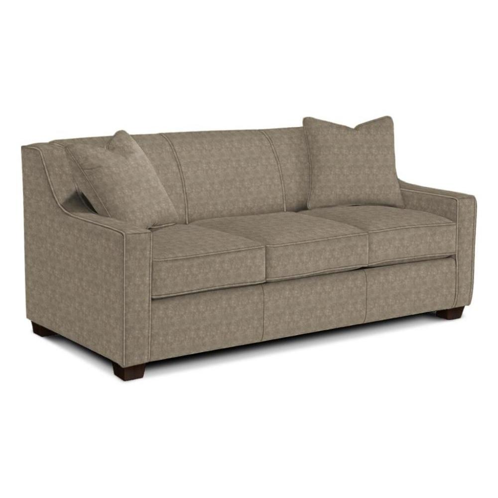 Marinette Sleeper Sofa Full Size Memory Foam Mattress in Paloma Grey Espresso Leg Matching Throw Pillows