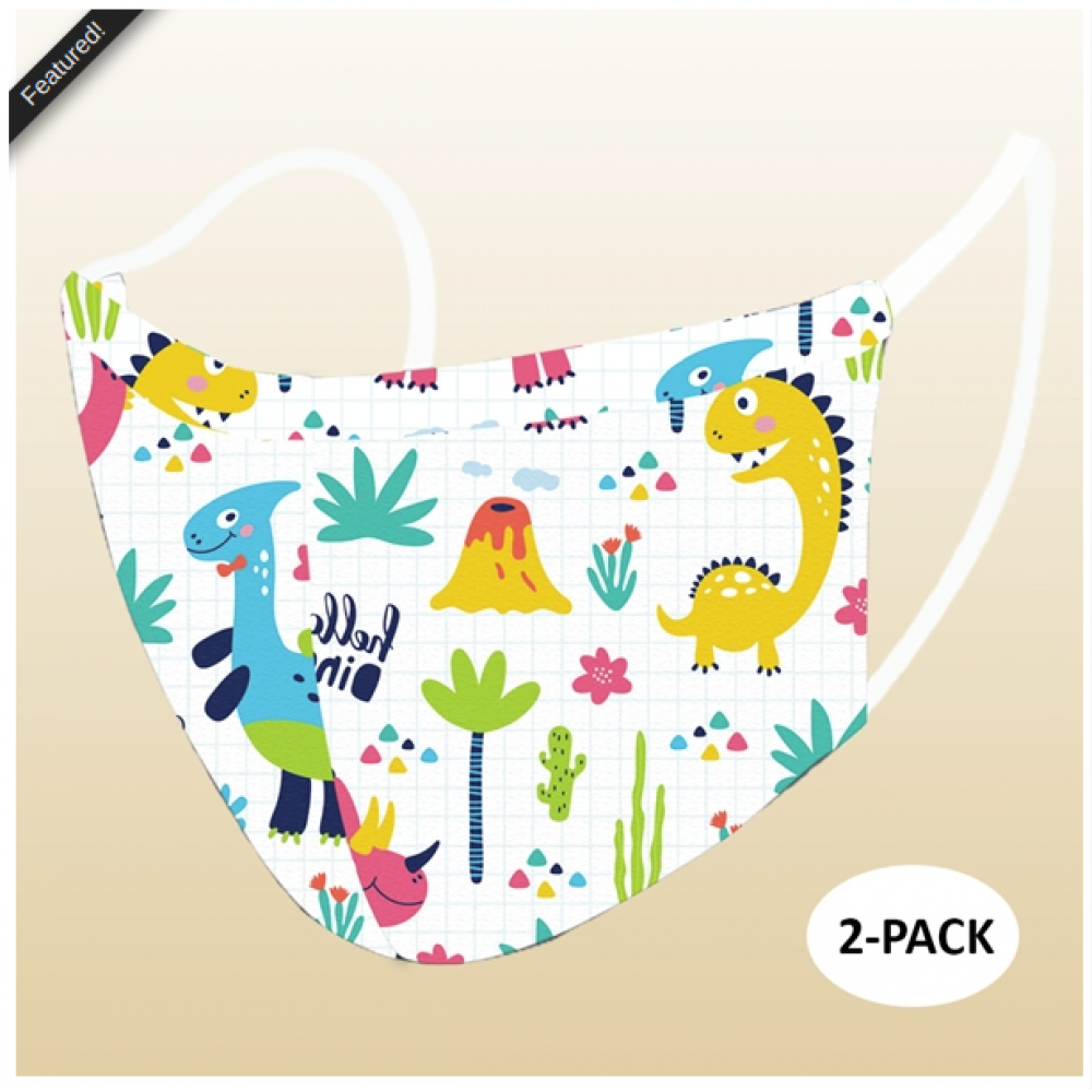 Face Mask - Cloth -  Kids Dino (Pack of 2)