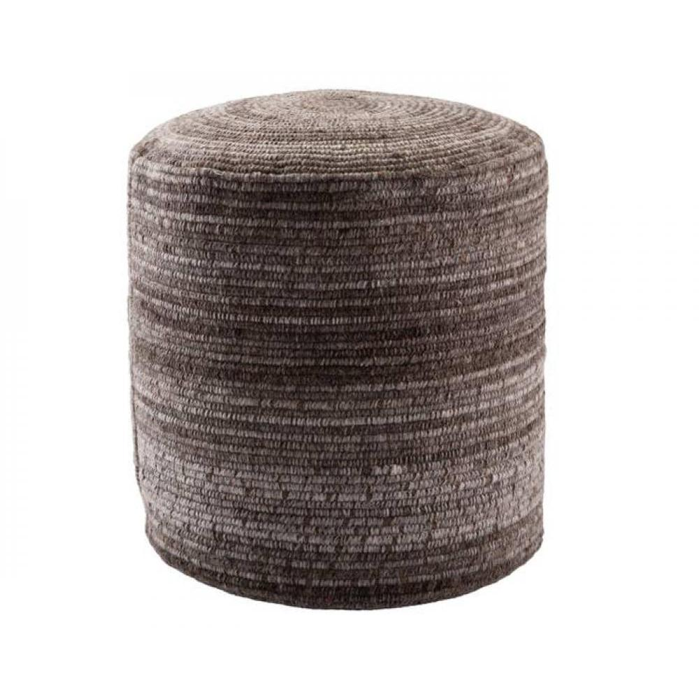 Pouf Amarillo Brown Wool 18in x 18in x 18in