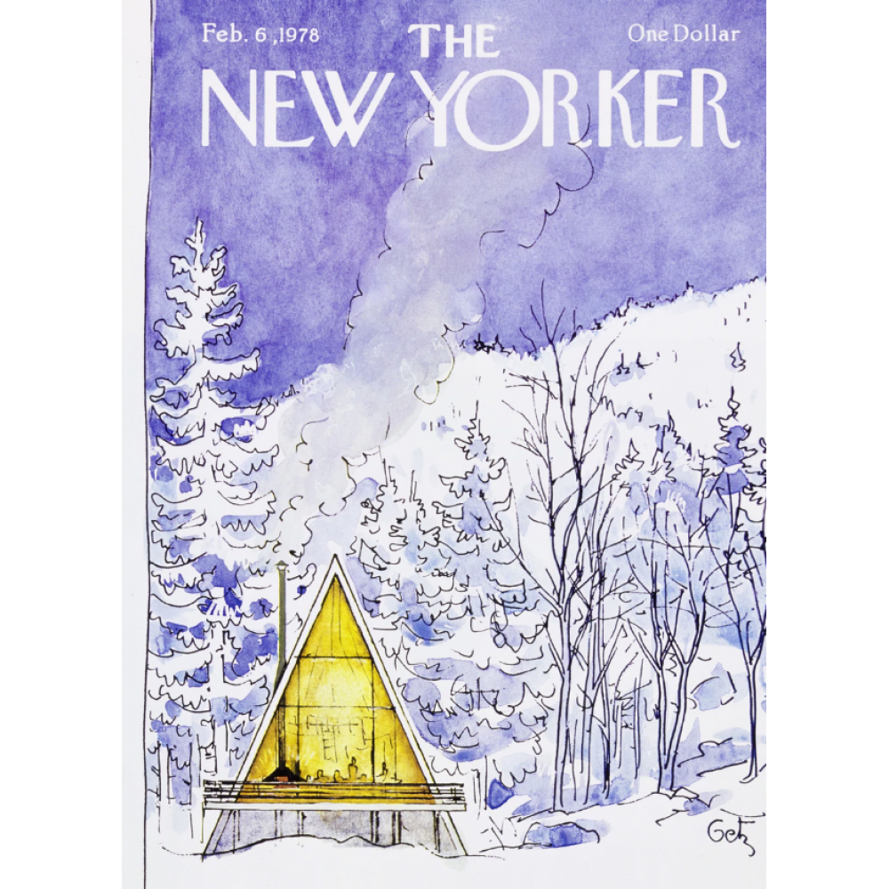 Christmas Card - New Yorker - Snowy Scene with A-Frame