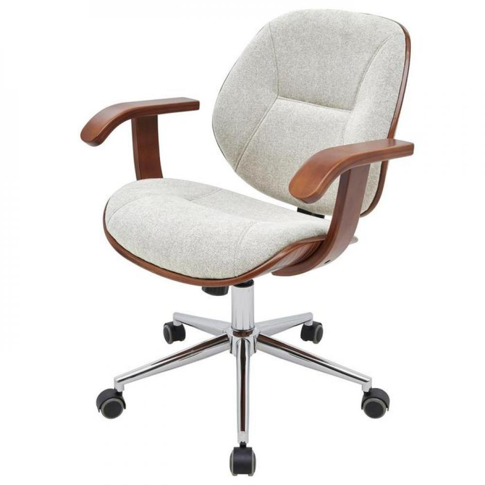 Samuel Office Chair Bamboo and Fabric With Armrests White