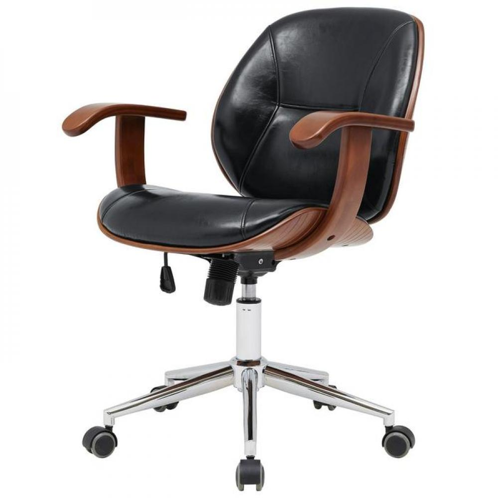 Samuel Office Chair Bamboo and Fabric With Armrests Black