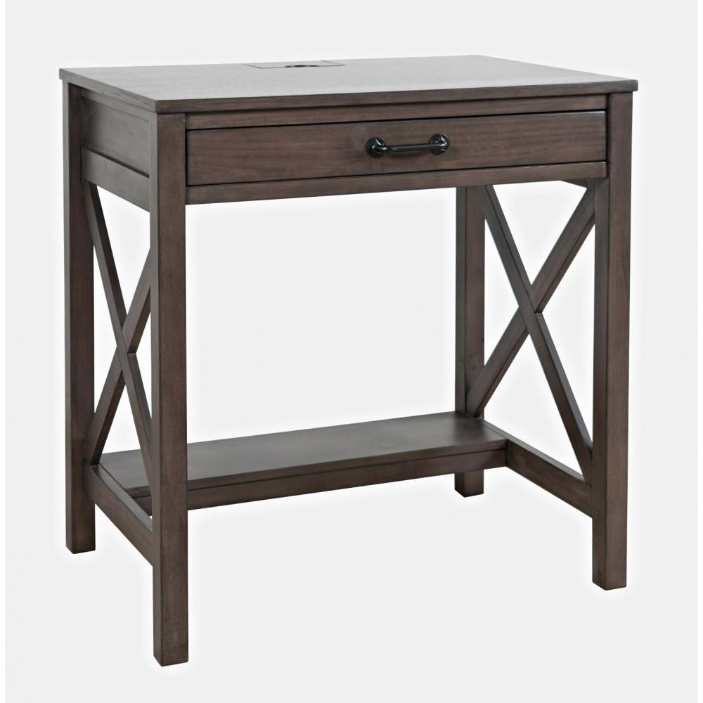 Hobson Desk With Power Charging Station Grey