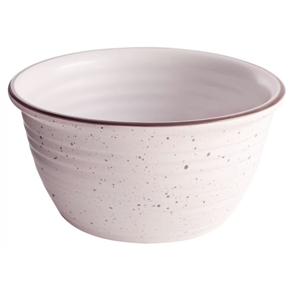 Bowl - Matte White with Grey Speckle Embossed 6.25inD