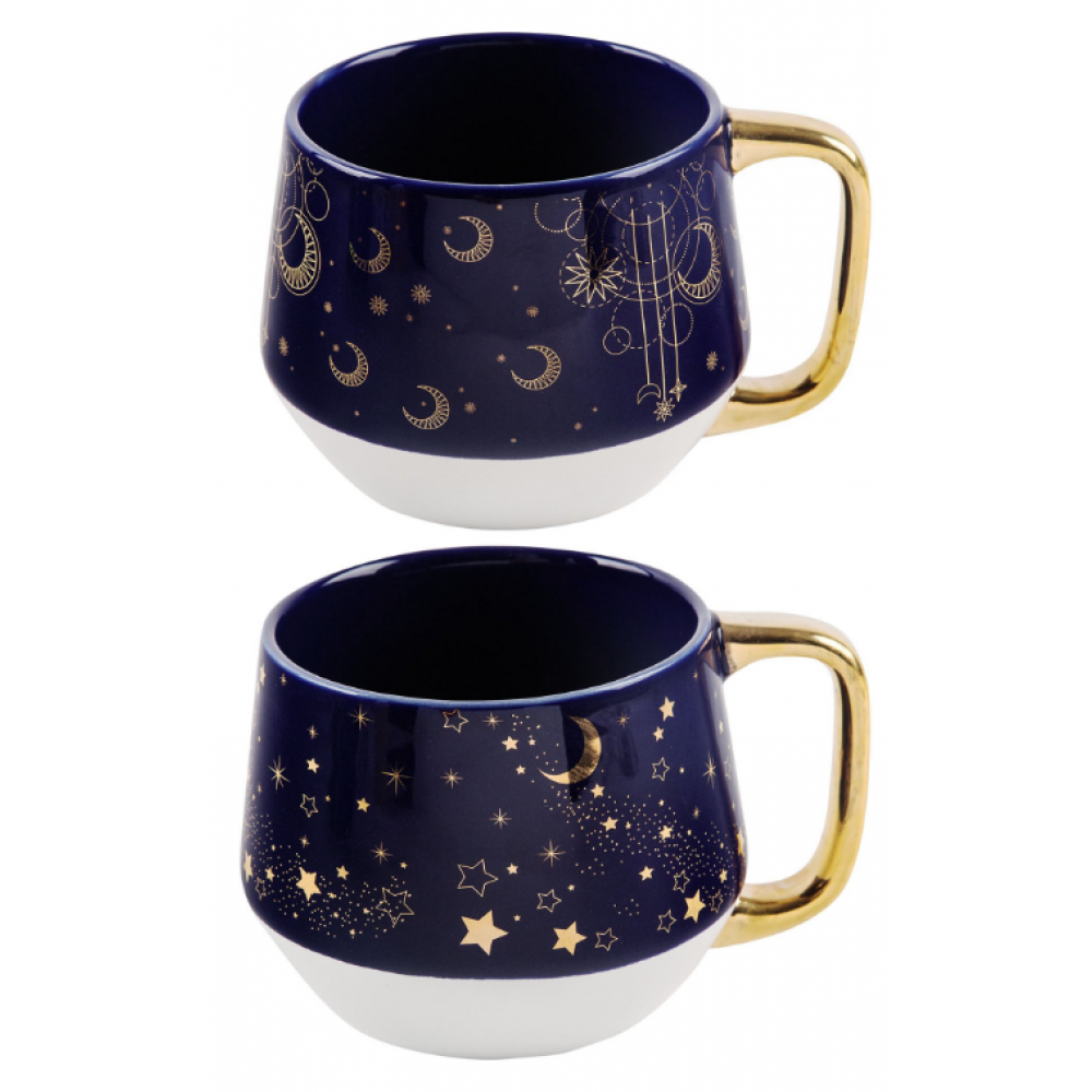 Mug - Indigo W/Moon and Gold Handle 2 Assorted