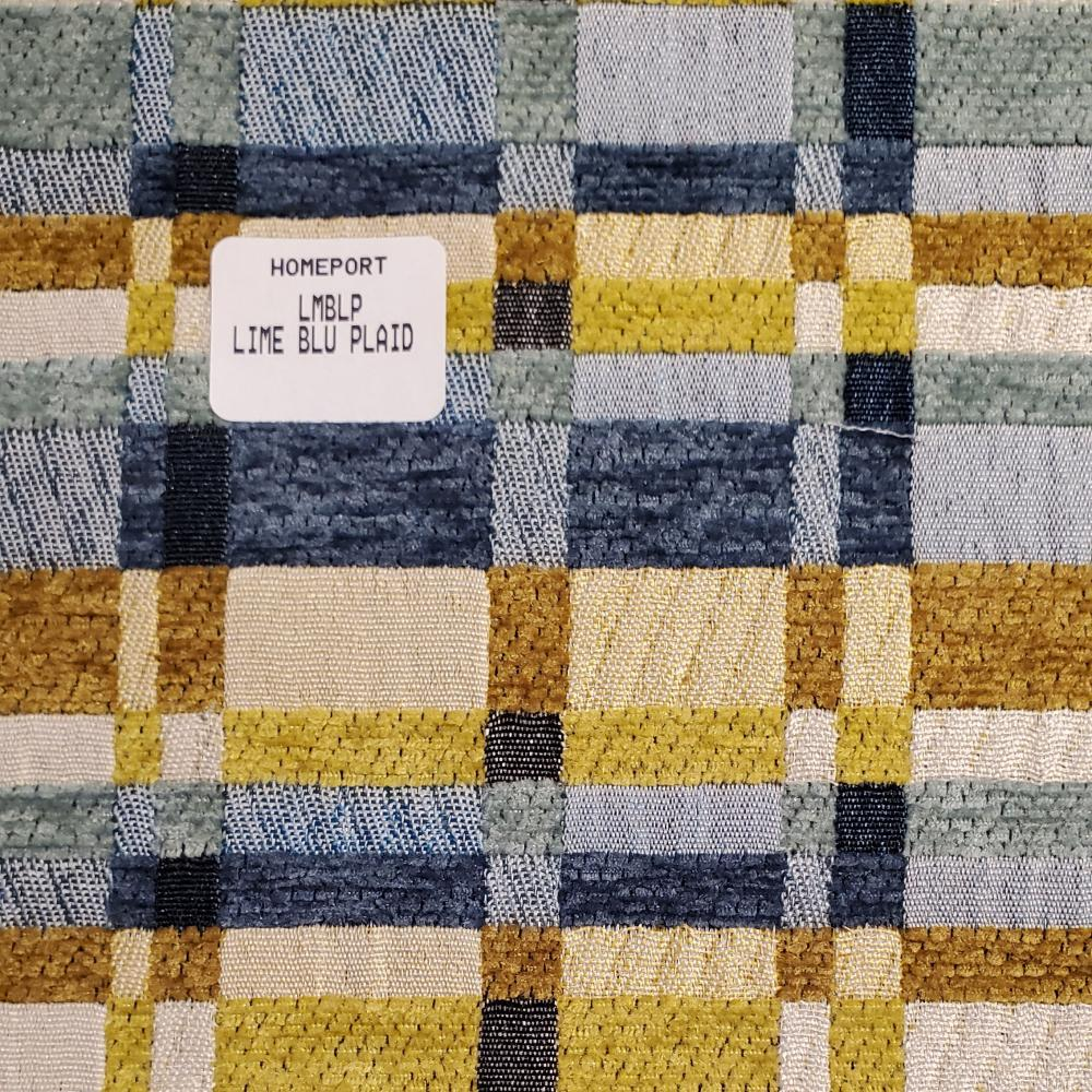 Floor Pillow 25in x 25in PHI Lime Blue Plaid