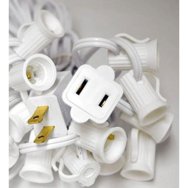 Cord Edison String Lights 10 Socket White (Bulbs Sold Separately)