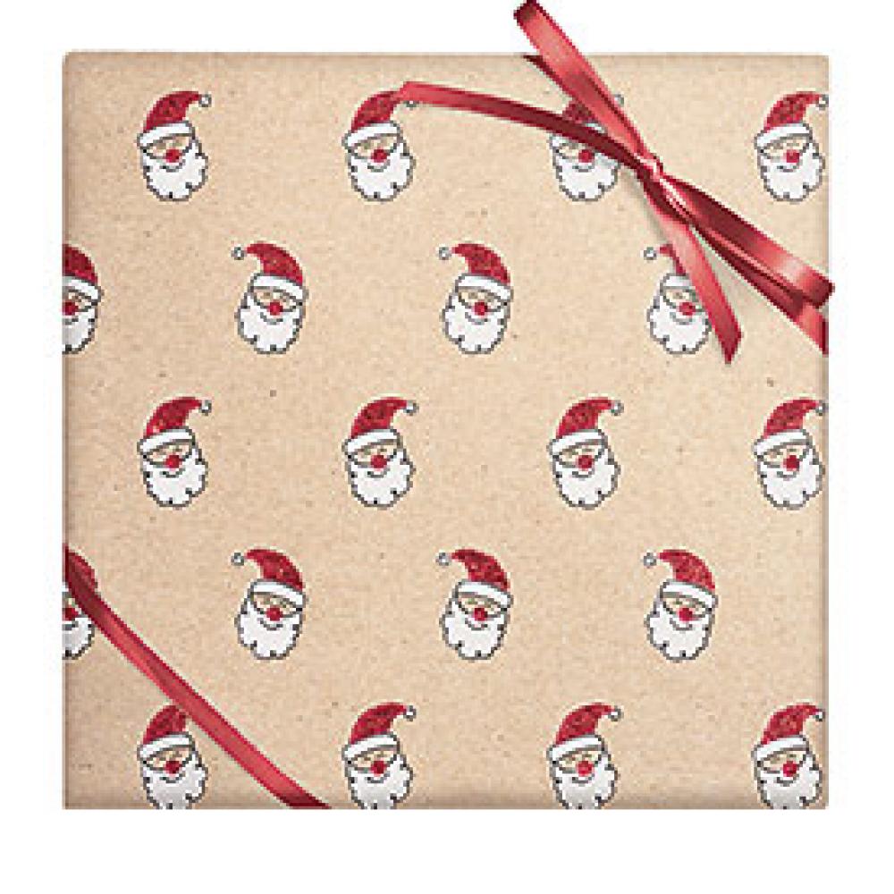 Gift Wrap - Glitter Santa