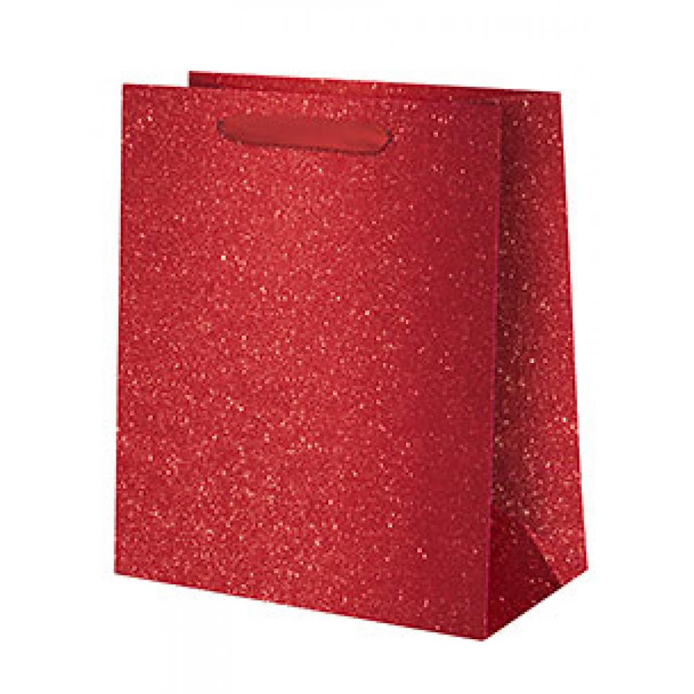 Gift Bag - Medium - Red Glitter