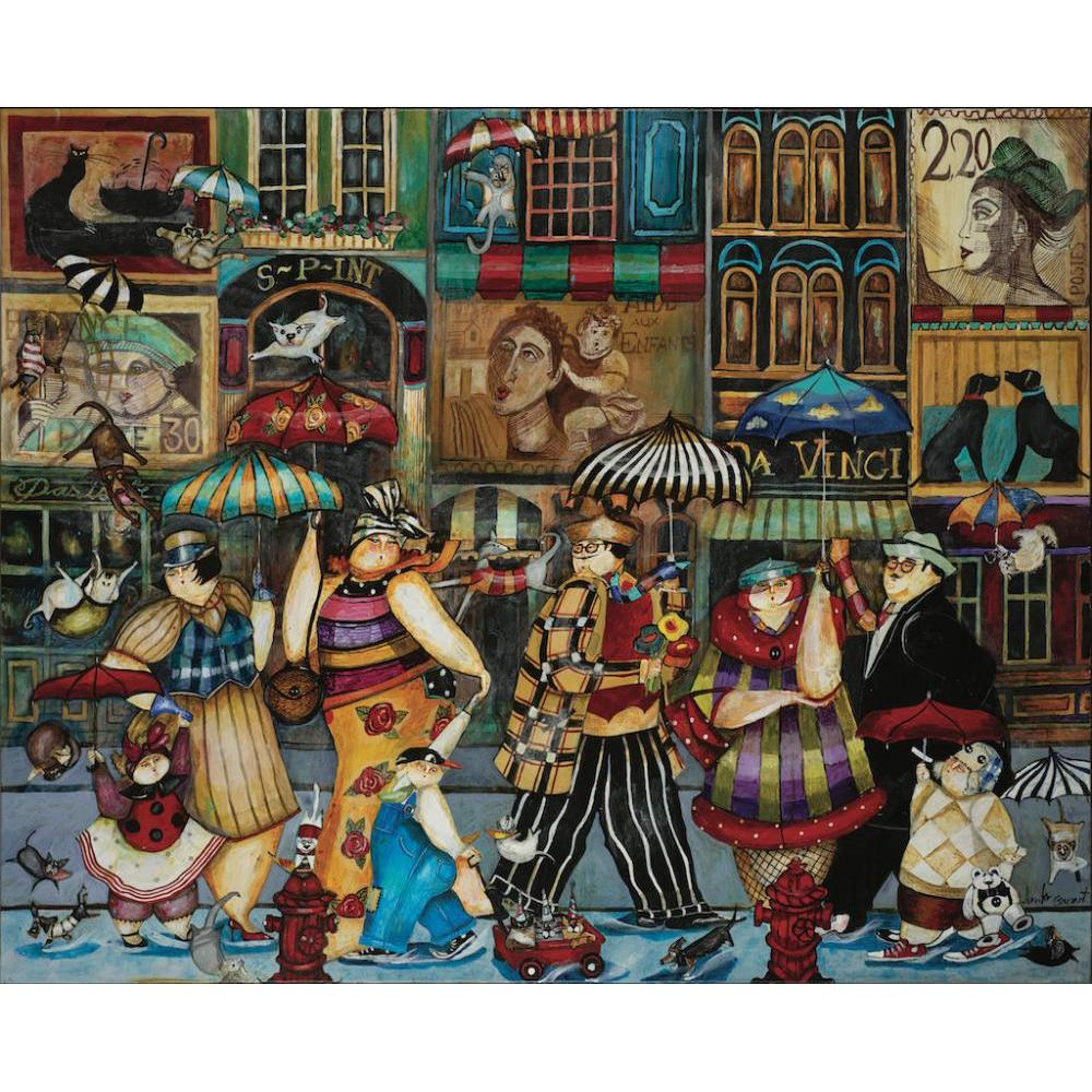 Puzzle 1000 Piece Raining Cats and Dogs in Paris by Jennifer Garant