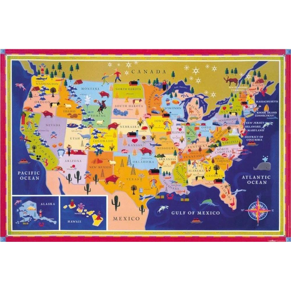 Map of the United States Poster This Land is Your Land Includes Stickers