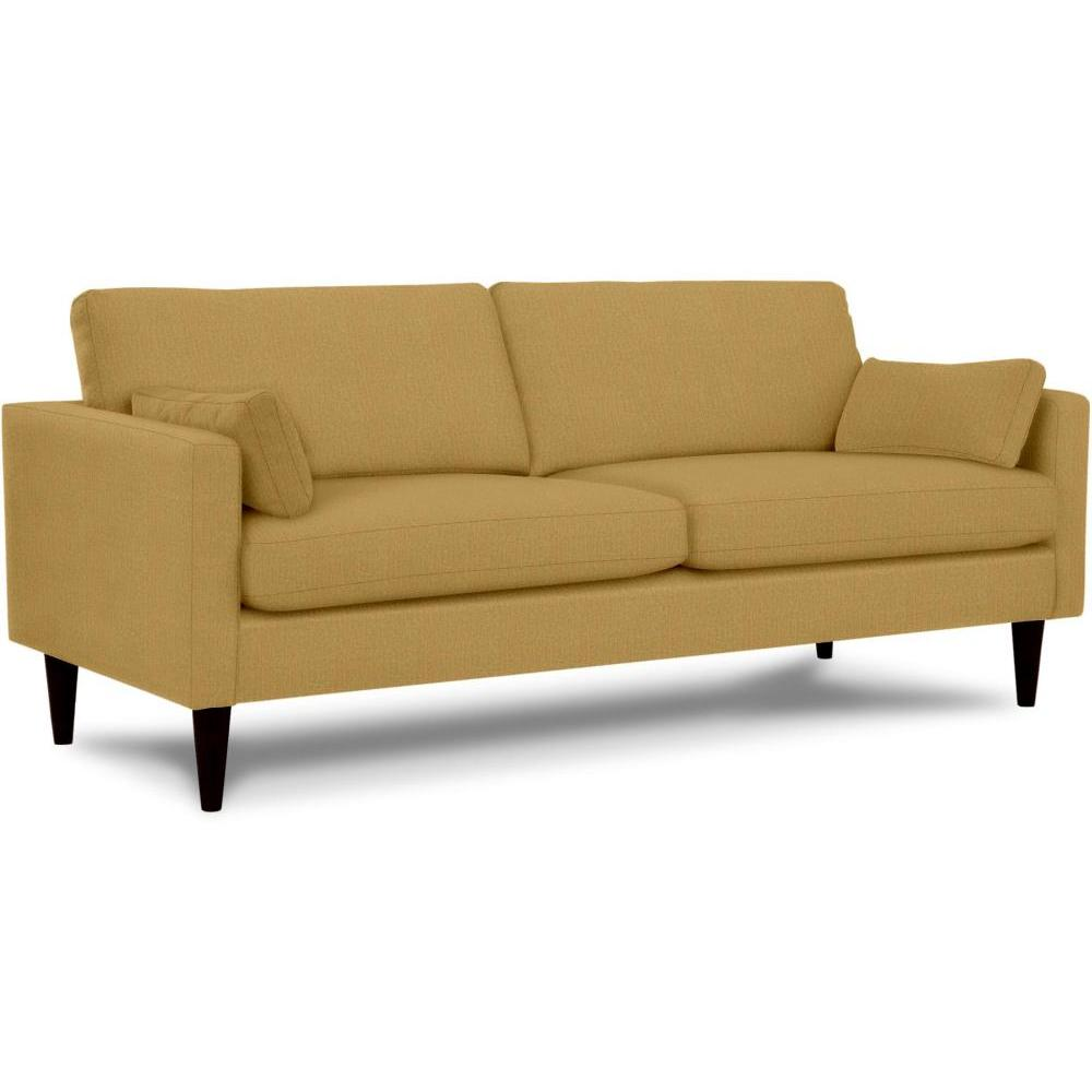 Trafton Sofa Espresso Leg Fabric Butterscotch Matching Throw Pillows