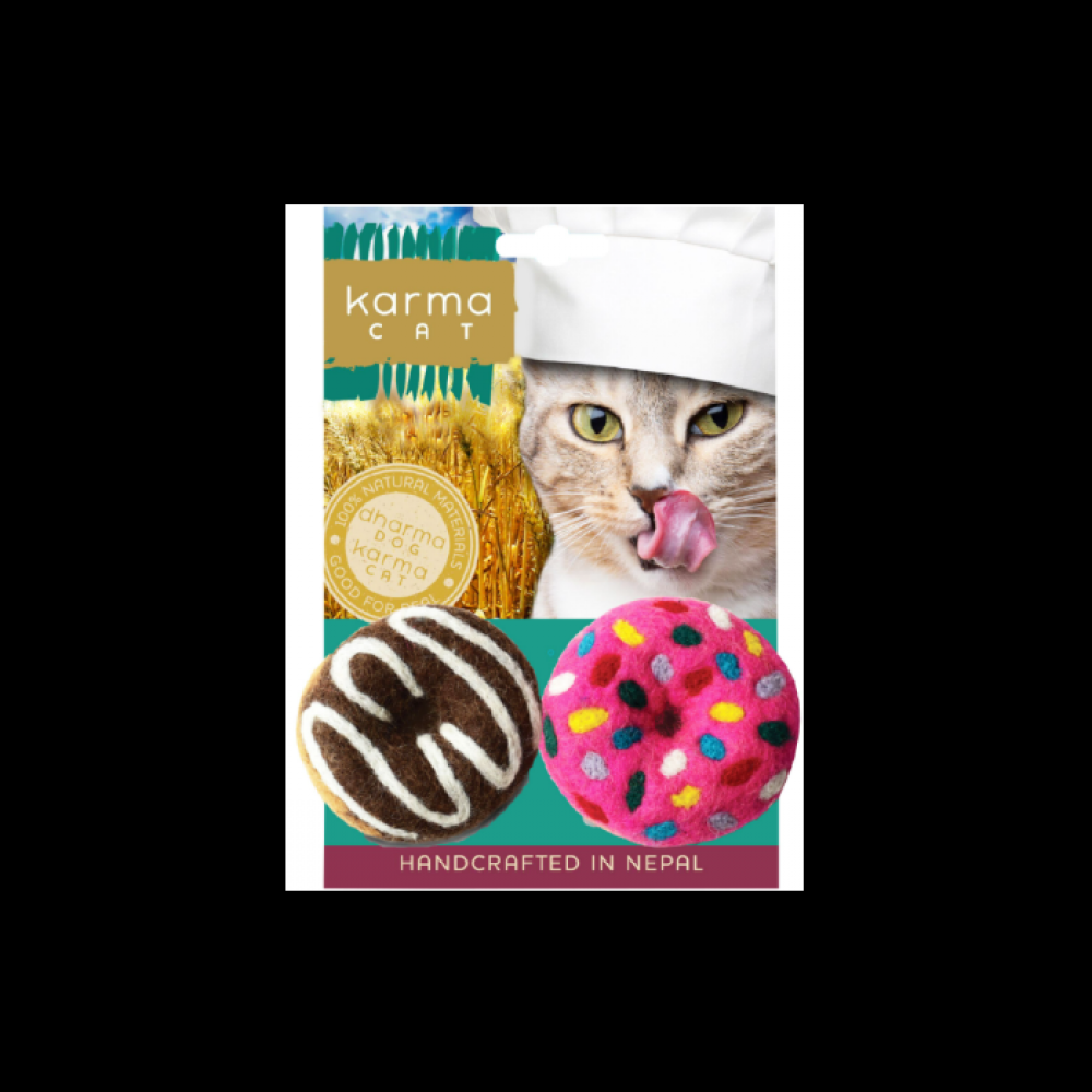 Cat Toy Dharma Dog Karma Cat Wool Donuts 2 Pack