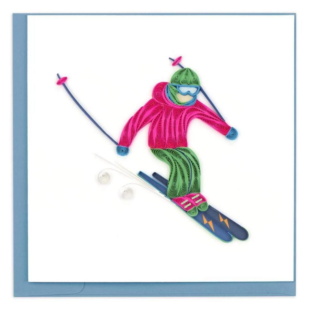Quilled Skier Greeting Card