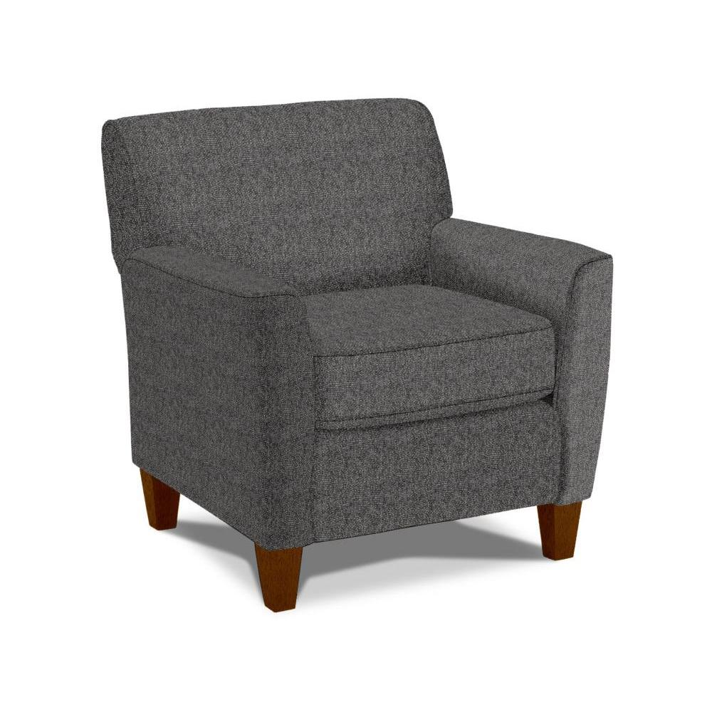 Risa 50s Club Chair in Charcoal Fabric Antique Walnut Leg