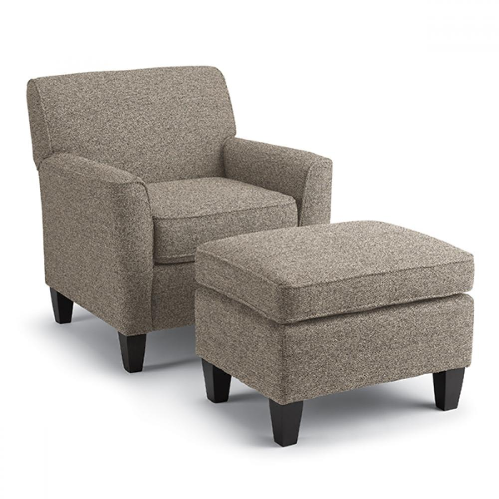 Risa 50s Club Ottoman in Charcoal Fabric Antique Walnut Leg ( Picture Does Not Reflect Fabric or Color)
