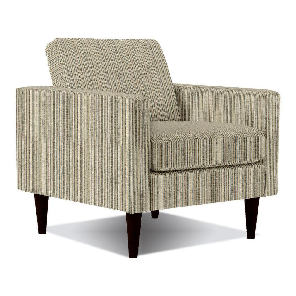 Trafton Chair Wood Led Espresso Finish in Aztec Stripe Fabric