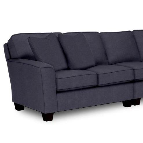 Annabel Sectional Component Right Facing One Armed Loveseat Beveled Arm Espresso Feet in Navy