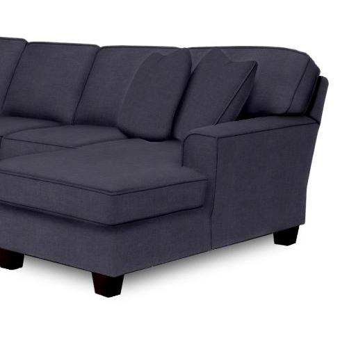 Annabel Sectional Component Right Facing One Armed Chaise Beveled Arm Espresso Feet in Navy