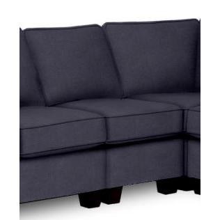 Annabel Sectional Component Armless Chair Espresso Feet in Navy