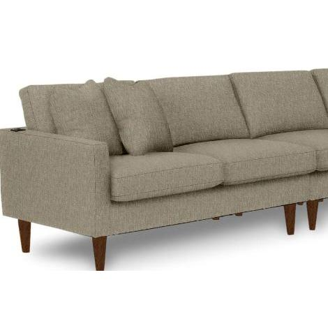 Trafton Sectional Component Right Facing One Armed Loveseat Dark Walnut Wood Leg in Bark Fabric