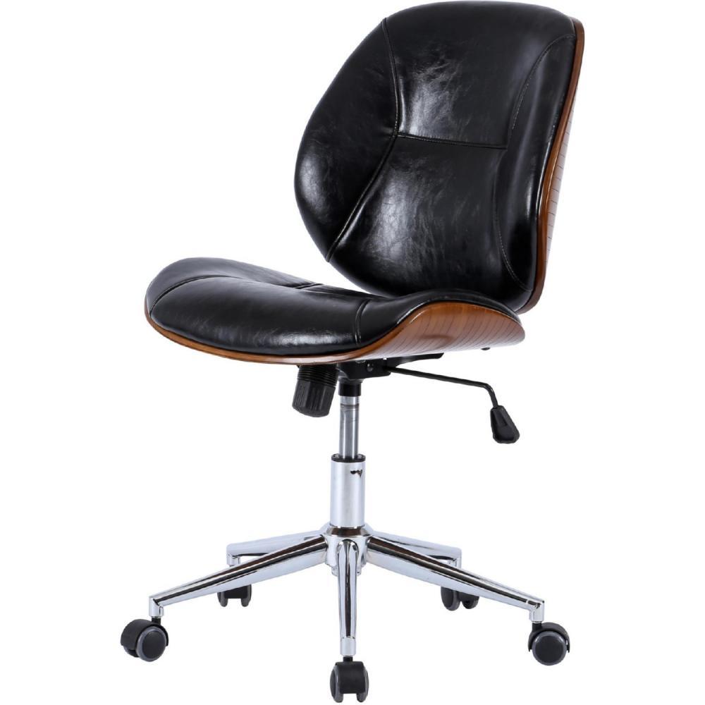 Shaun Office Chair Bamboo and Fabric Armless Black