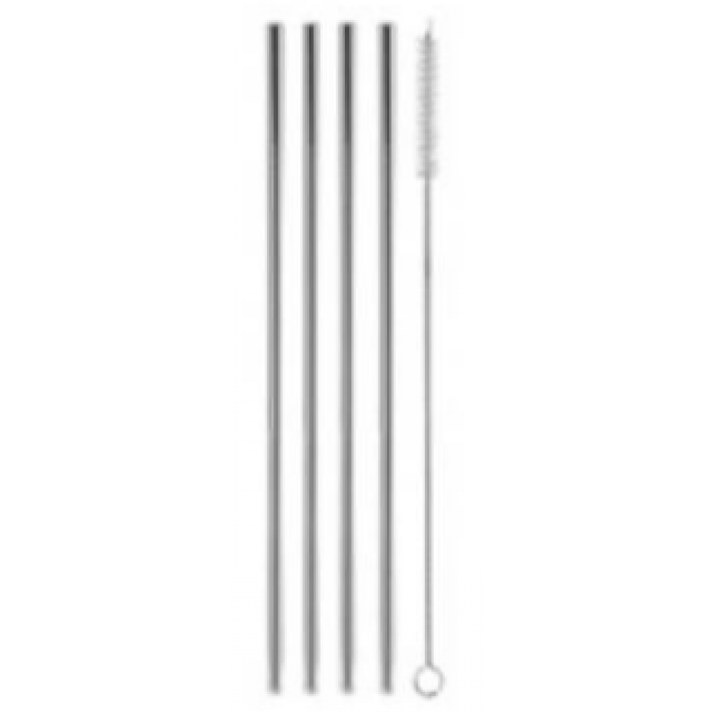 Set of 4 Straight Stainless Steel Drinking Straws (8.5in)