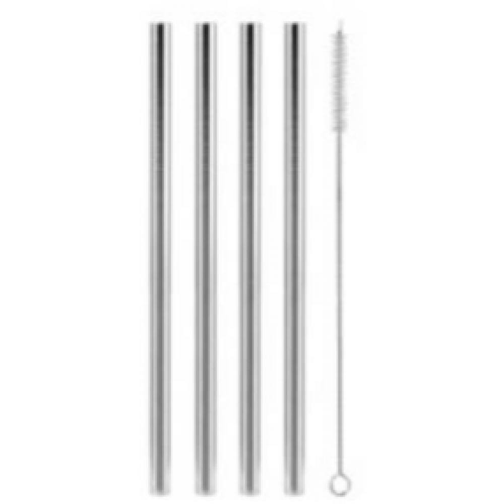 Set of 4 Wide Stainless Steel Drinking Straws w/ Cleaning Brush