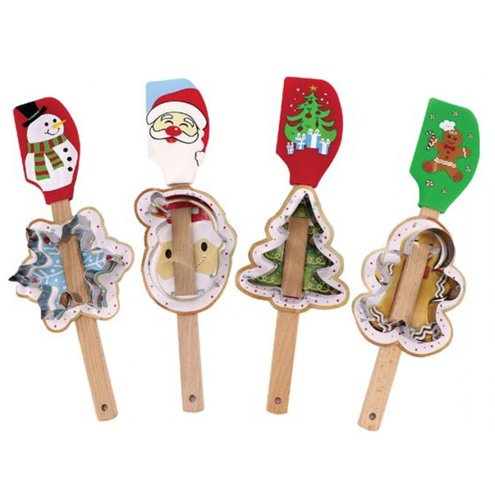Holiday Spatula & Cookie Cutter Set